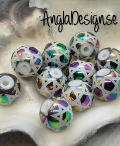 Glaspärla 8mm rund med stjärnmönster multifärgade ,10-pack