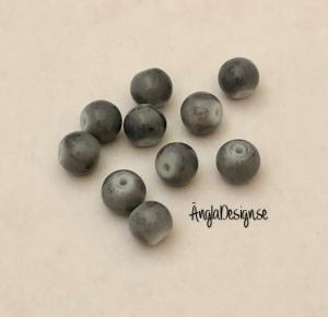Glaspärla drawbench gråa med gråsvart stänk på, 8mm, 10-pack