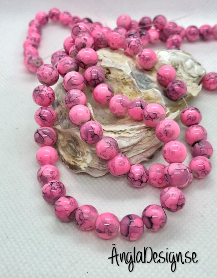 Glaspärla drawbench rosa med svart stänk på, 8mm, 1 sträng