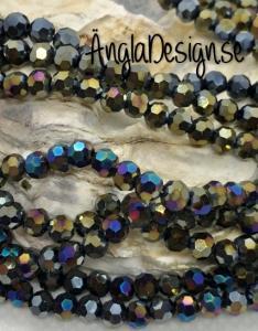 Glaspärla rund facetterad 4mm svart med AB lyster, 1 sträng