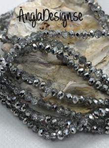 Glasrondell, facetterad 3x2mm silver, 1 sträng