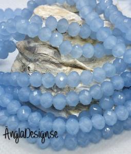 Glasrondell, facetterad 6x4mm imiterad jade blå, 1 sträng