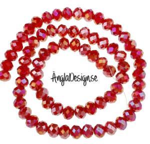 Glasrondell, facetterad 6x4mm röd med AB lyster, 1 sträng