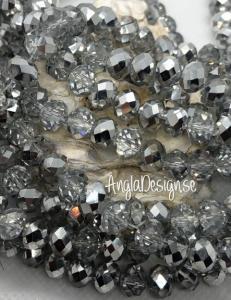 Glasrondell, facetterad 8x6mm silver, 1 sträng