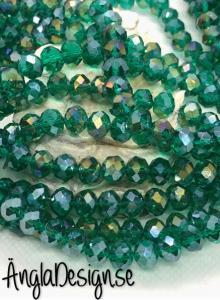 Glasrondell, facetterad 8x6mm emerald med AB lyster, 1 sträng