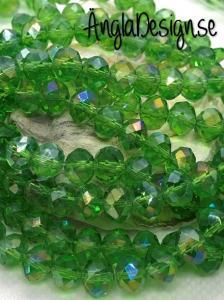 Glasrondell, facetterad 8x6mm grön med AB lyster, 1 sträng