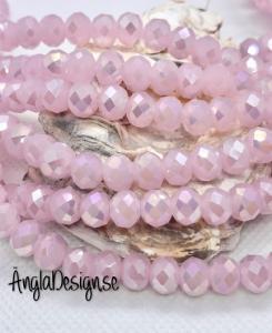 Glasrondell, facetterad 8x6mm imiterad jade rosa med AB lyster, 1 sträng