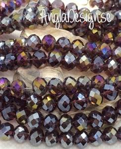 Glasrondell, facetterad 8x6mm lila med AB lyster, 1 sträng