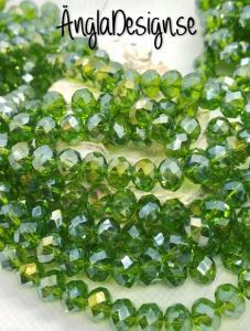 Glasrondell, facetterad 8x6mm mossgrön med AB lyster, 1 sträng