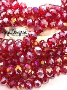 Glasrondell, facetterad 8x6mm röd med AB lyster, 1 sträng