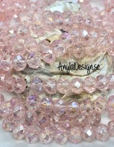 Glasrondell, facetterad 8x6mm rosa med AB lyster, 1 sträng