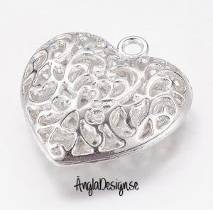 Hänge hjärta i sirligt stil, ljust silver, 1-pack