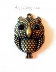 Hänge bullig söt uggla brons, med svarta rhinestones, 1st