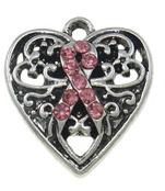 Berlock antiksilver,  hjärta med rosa band strass, 1st