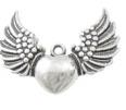 Hänge hjärta med vingar, antiksilver, 1st