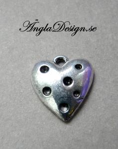 Berlock antiksilver, sött prickigt hjärta, 5st