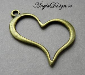 Hänge stort snett hjärta siluett, brons, 1st