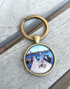 Smycke - nyckelring med eget fotografi/text, brons, 1st