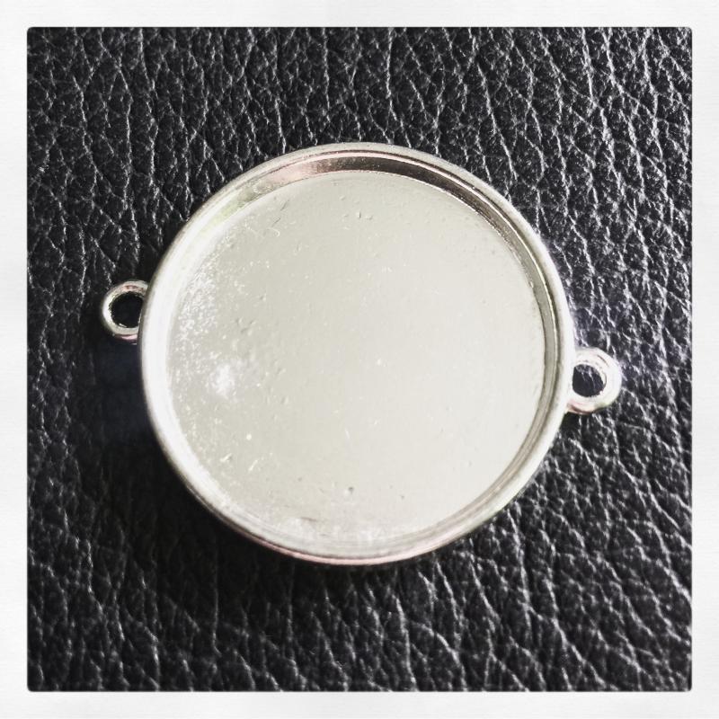 Connector ram för 25mm, slät ljust silver,1st