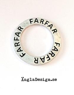 "Budskapsring ""Farfar"" antiksilver, 1st"