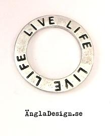 "Budskapsring ""Live life"" antiksilver, 1st"