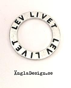 """Budskapsring """"Lev livet"""" antiksilver, 1st"""