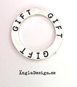 """Budskapsring """"Gift"""" antiksilver, 1st"""