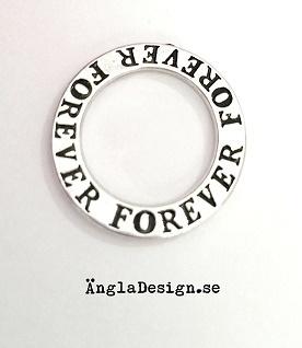 """Budskapsring """"Forever"""" antiksilver, 1st"""