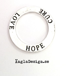 "Budskapsring ""Love Hope Cure"" antiksilver, 1st"