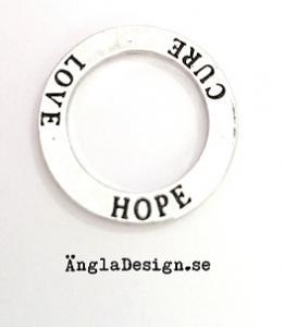 """Budskapsring """"Love Hope Cure"""" antiksilver, 1st"""