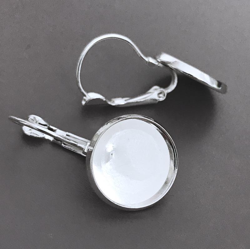 Örhängesram 14mm, ljust silver, 1par