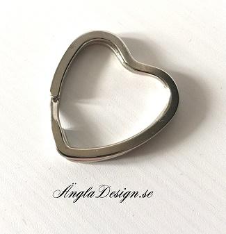 Nyckelring hjärta 31mm, platinum 1st