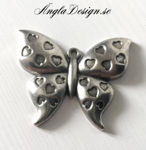 Hänge antksilver, vacker fjäril med hjärtan, 1st