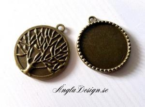 Berlock ram brons med träd, för 25mm, 1st