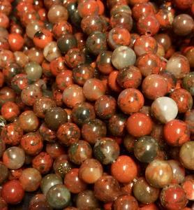 Regnbågsjaspis röd/brun, 6mm, 1 sträng