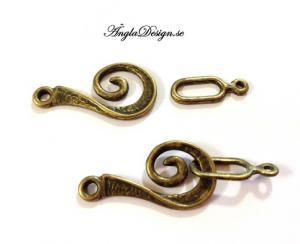 Swirl kroklås, brons, 2-pack