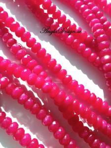 Jade rondell 5x8mm, facetterad mörk rosa, 20-pack