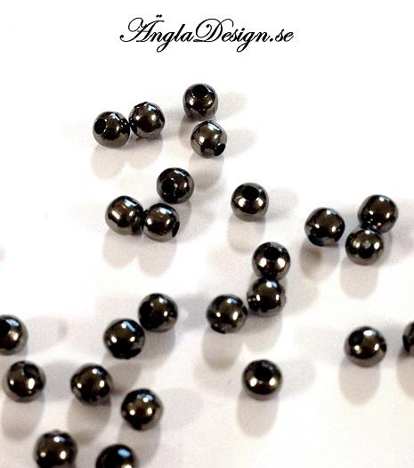 Mellandel, metallkula, svart, 4mm, 50-pack