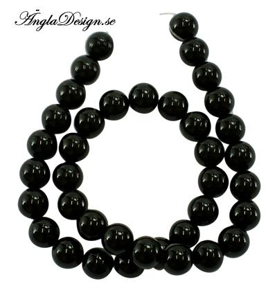Jade rund 10mm, svart, 20-pack