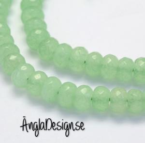 Jade rondell 5x8mm, facetterad ljusgrön, 20-pack