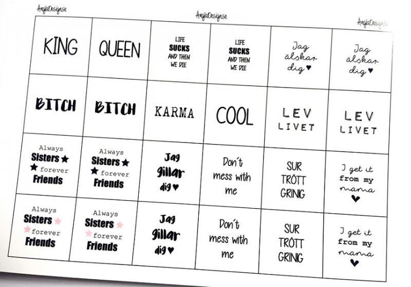 """Budskap/texter för 20mm blandark """"king queen mfl"""" 1ark"""