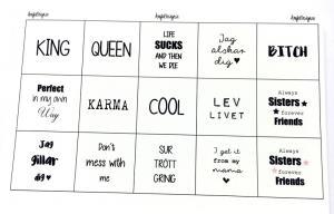 """Budskap/texter för 25mm blandark """"king queen mfl"""" 1ark"""