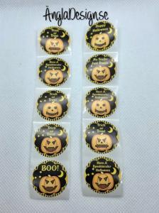 Klistermärken runda 25mm halloween, 10-pack