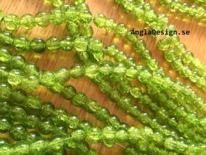 Glaspärlor krackelerade 8mm, grön, 30-pack