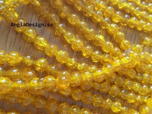 Glaspärlor krackelerade 8mm, gul, 30-pack