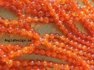 Glaspärlor krackelerade 8mm, orange, 30-pack