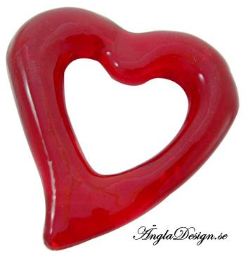 Lampwork hjärta siluett, stort rött, 5cm, 1st