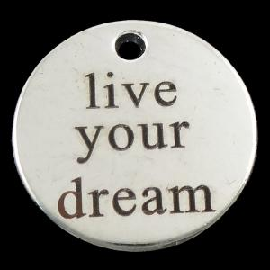 "Berlock med text ""live your dream"" antiksilver, 1st"