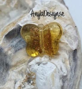 Glaspärla handgjorda lampwork fjäril gul med guld stänk, 1st
