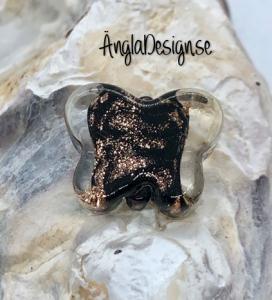 Glaspärla handgjorda lampwork fjäril svart med guld stänk, 1st